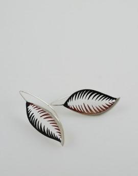 Pendientes Hoja de Plata en color rojo y gris