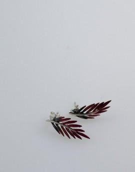 Pendientes Pequeños Presión en Plata color Rojo y Gris