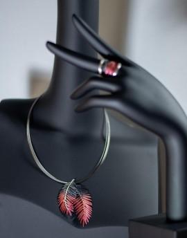 Colgante Palmera en Plata color Rojo y Gris