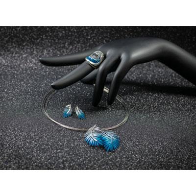 conjunto joyeria en plata azul moderno